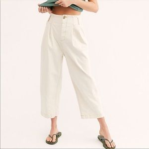 Free People Pleated Carrot Pants size 6 NWT Ivory